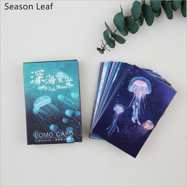 28Pcs/pack Sea Dreamlike Jellyfish Watercolor Mini Lomo Card Greeting Card Postcard DIY Letter Envelope Gift Card Message Card