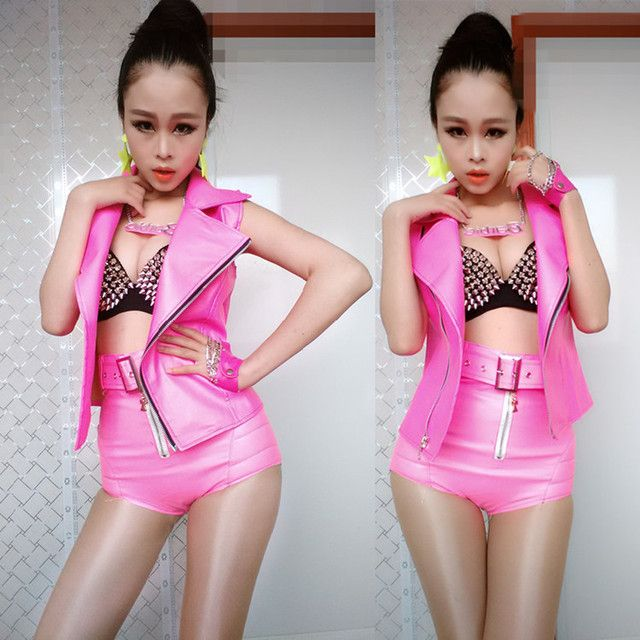 (vest+pants) female blazer jacket costumes pink outwear singer dancer performance show party bar nightclub casual formal prom