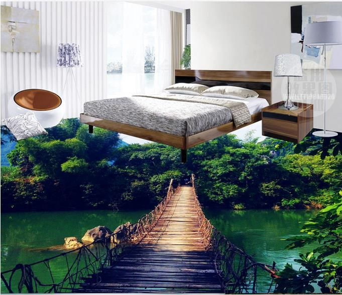 floor vinyl tile modern custom 3d wall murals 3d flooring Wooden bamboo self adhesive wallpaper waterproof bathroom floor