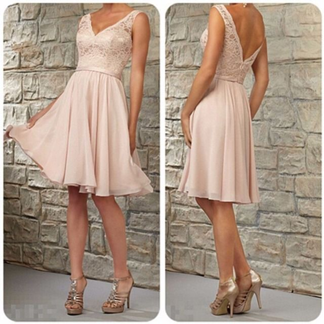 New arrival A-Line Short Bridesmaid Dresses 2017 V-Neck Charming Prom Dresses Homecoming Dress Formal Party Gown Open Back