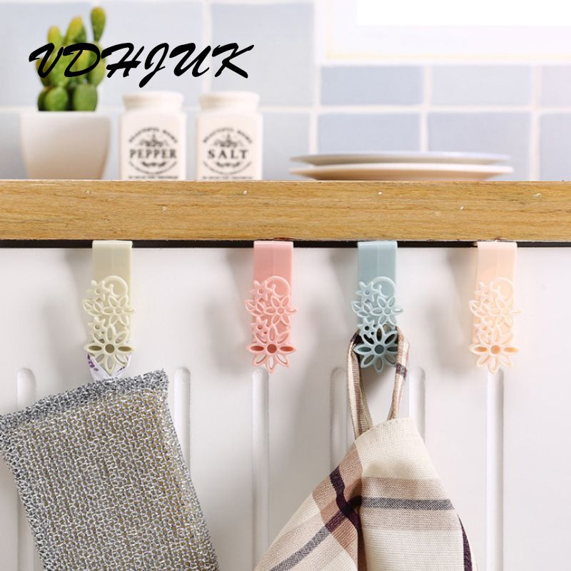 VDHJUK 2PCS/lot Hanging clothes hanger kitchen trash bags from nail door creative back hook behind the door hanging clothes rack