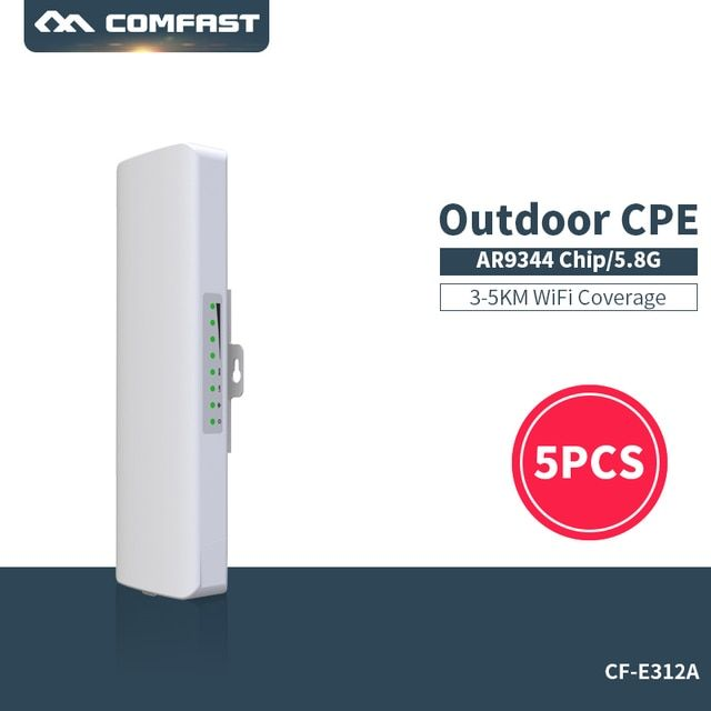5PCS !  300Mbps Outdoor CPE Comfast CF-E312A 5G wi-fi Ethernet Access Point Wifi Bridge Wireless 1-3K Range Extender CPE Router