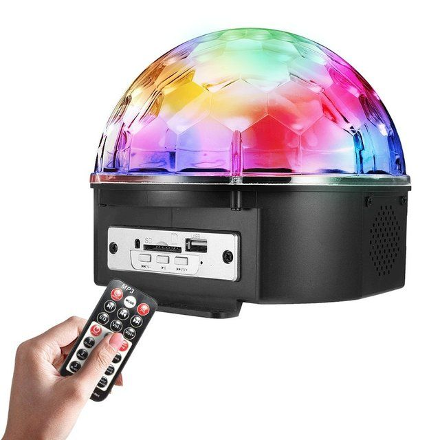 Stage Lights 9 Color LED DJ Disco Lights Party Lights Rotating Crystal Magic Ball Lights Sound Activated Strobe Effect Light