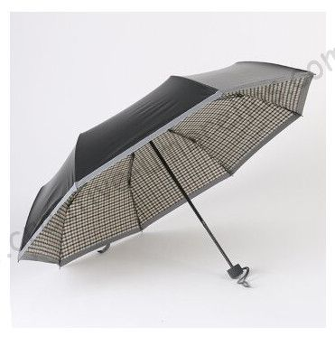 6pcs/lot colour option Night walking reflective three fold steel umbrella Anti-UV British check business gift parasol carton