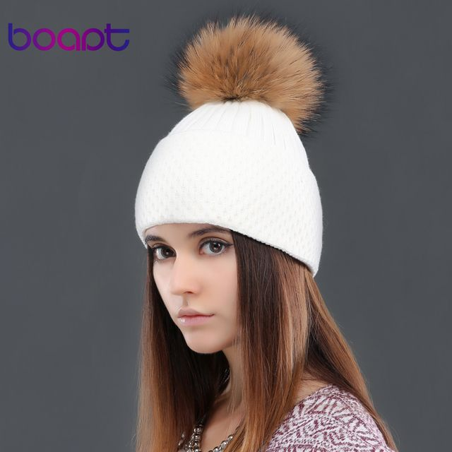BOAPT soft cashmere knited cap natural genuine real raccoon fur pom pom women's hats winter caps female hat skullies beanies