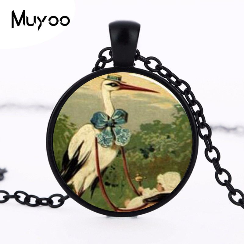 New Steampunk DIY Handmade Fine Necklace Stork and Baby Carriage Pendant Glass Dome Pendant for women jewelry gift Chain HZ1
