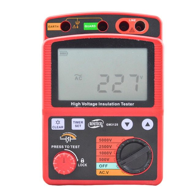 BENETECH GM3125 energy-saving Portable 12V 1.4mA voltage overload Insulation Resistance Tester