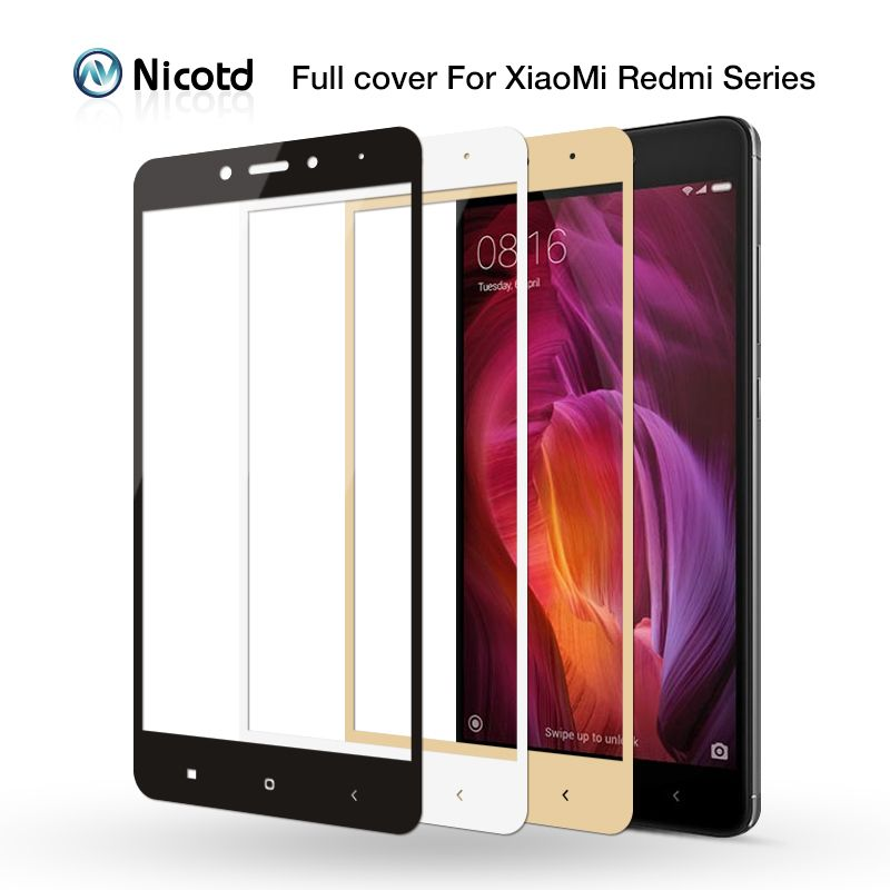 Nicotd Tempered Glass For Xiaomi Redmi 4X Full cover Screen Protector Film for Xiomi redmi Note 5 pro 6A 6 pro 5 plus Note 5A 4X