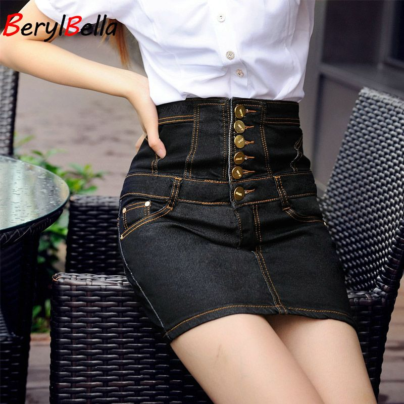 Women's Skirt 2018 New High Waist Denim Skirt Fashion Button Slim Cotton Black Summer Style Girls Skirt For Female