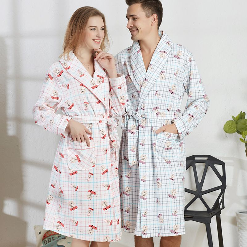 New Arrival Spring Men V-neck cotton Bathrobe men bathroom spa robe male plus size pajamas Traditional Yukata Sleepwear 050504