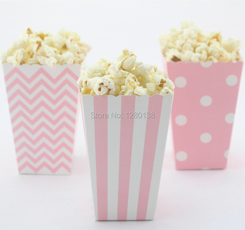 120pcs Light Pink popcorn boxes Chevron Dot Striped Printed Party Wedding Decor Supply Candy Buffet Treat Boxes