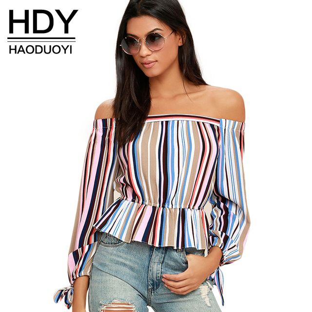 HDY Haoduoyi New Fashion Backless Tops Women Long Sleeve Off Shoulder Female Tops Elegant Striped Pleated Ladies Blouses Shirts