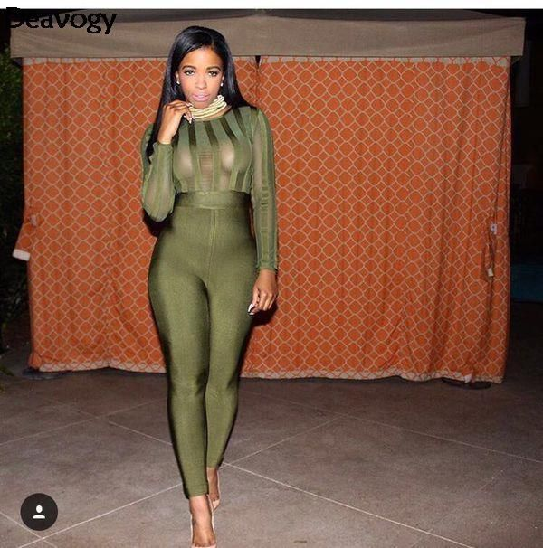 Deavogy 2016 Autumn New Army Green Black O Neck Long Sleeves Striped Bodycon Sexy Rompers Womens Jumpsuit Hot Sale