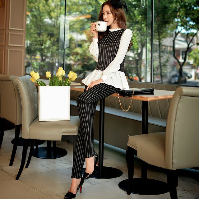 Original New 2016 Brand Autumn and Winter Pencil Pants Fashion Formal Black Striped Women Office Pants Plus Size Wholesale