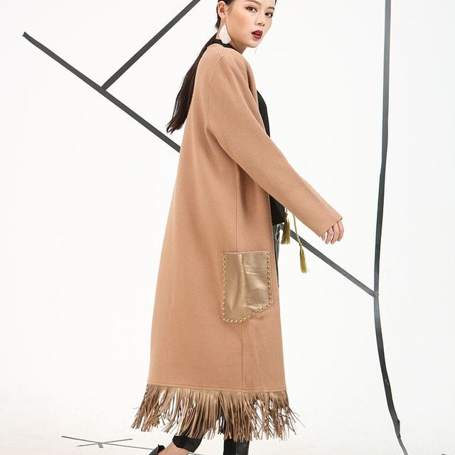 [soonyour] 2017  spring wwomen coats Long cardigan solid color fashion women's tassels loose style woolen coat EV084