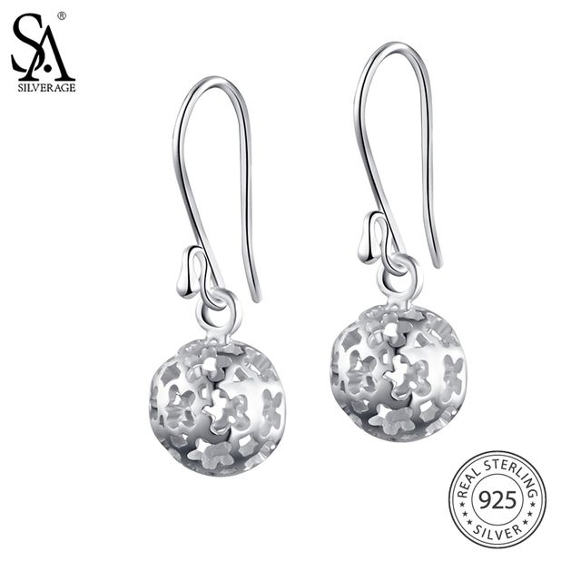 SA SILVERAGE Real 925 Sterling Hollow Drop Earrings 2018 Special Offer Party Trendy Brinco Women Fine Jewelry Ball Big Long