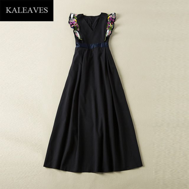New Arrival Summer Hot Long Dress 2016 Fashion Brand V_neck Sleeveless Embroidery Black Empire Elegant Maxi Dress Hot