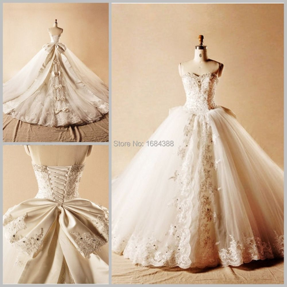 Newest Spring Princess Lace with Beading Ball Gown Wedding Dresses Bows Crystal Long Bridal Dress Romantic Dazzling Top Gowns
