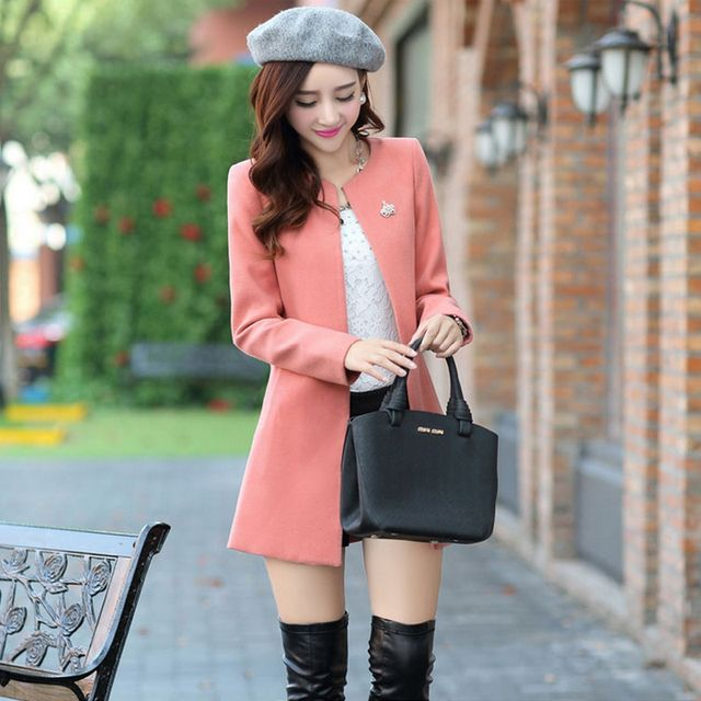 Women Winter Coats Female autumn Jacket Casual Pink Long Wool Coats 2017 New Korean Fashion Large Size Women's Winter Coats 7649