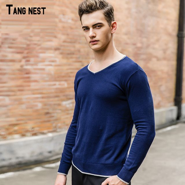 TANGNEST Men's Casual Sweater 2017 New Arrival Men Patchwork V-neck Autumn Sweaters Fashion Slim Pullovers High Quality MZL648