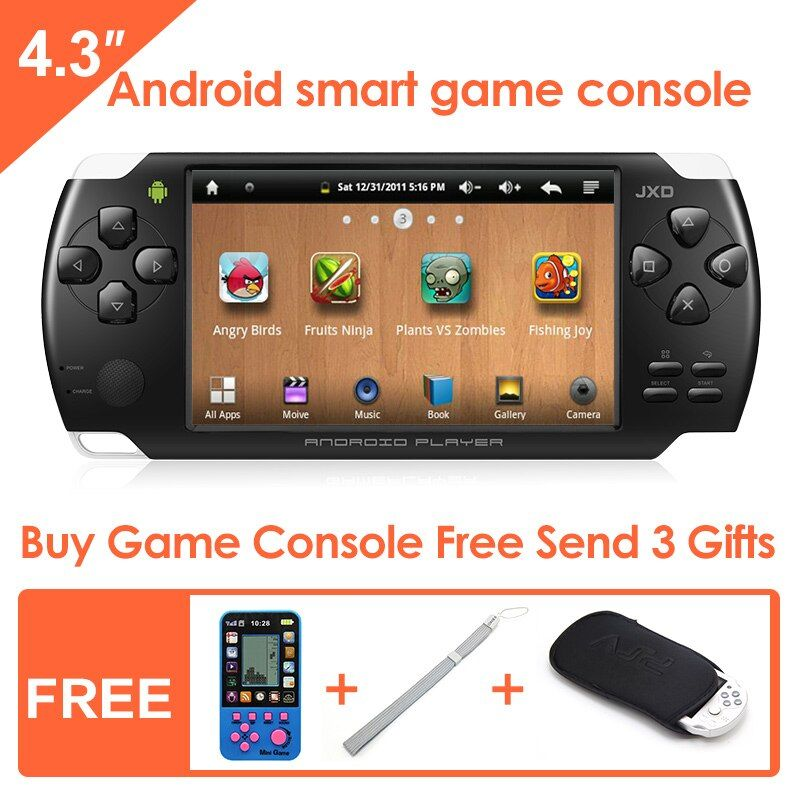 JXD S601 4.3-inch Touch Screen Android Smart Handheld Game Console Game Player Tablet PC Support simulator and Android games