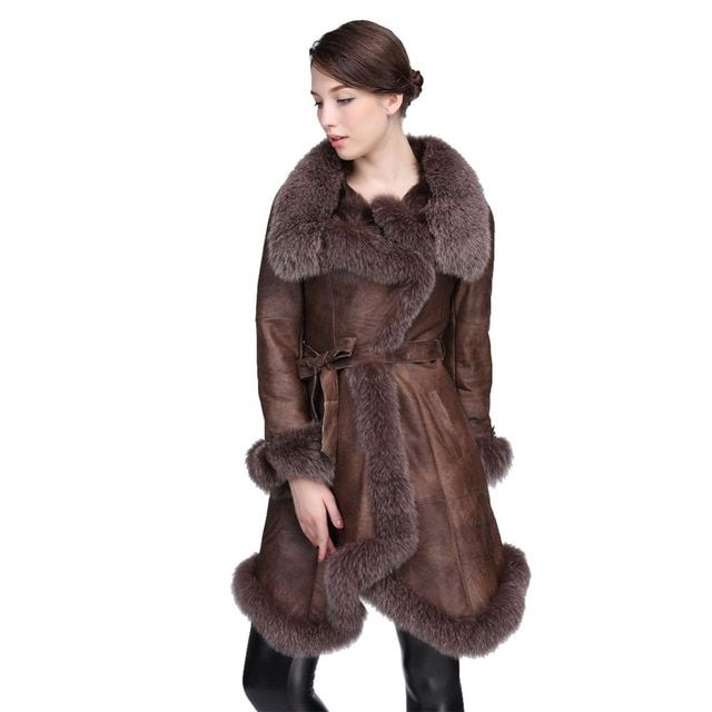 High Quality Big Fox Fur Collar Full Genuine Sheepskin Leather Coat Women Fur Elegant Fur overcoat