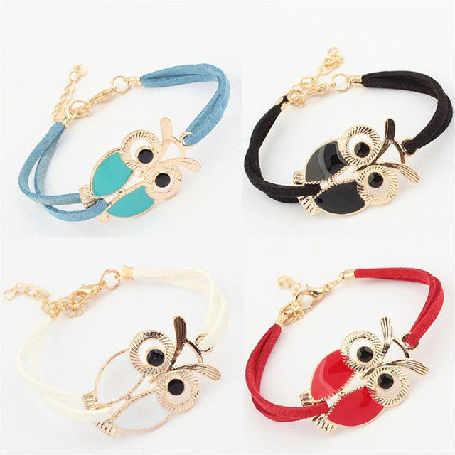 2017 Korean Fashion Handmade Womens Girls Vintage Owl Decoration Faux Bangles Braided Rope Wristband Leather Bracelet Adjustable
