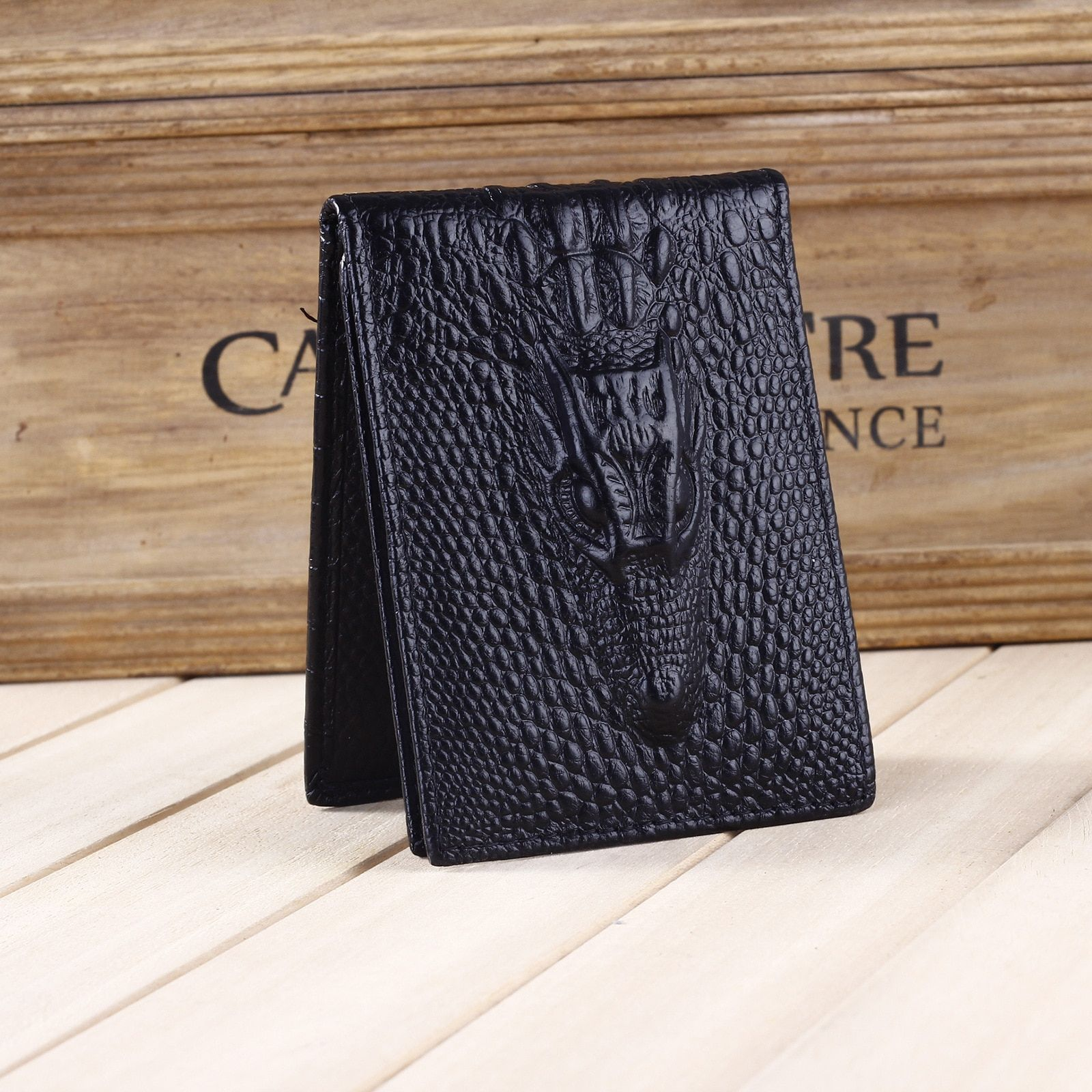 Men's Genuine Leather Driving License Holder Alligator Pattern 4 Solid Color ID Card Holder Wallet Wholesale Price Free Shipping