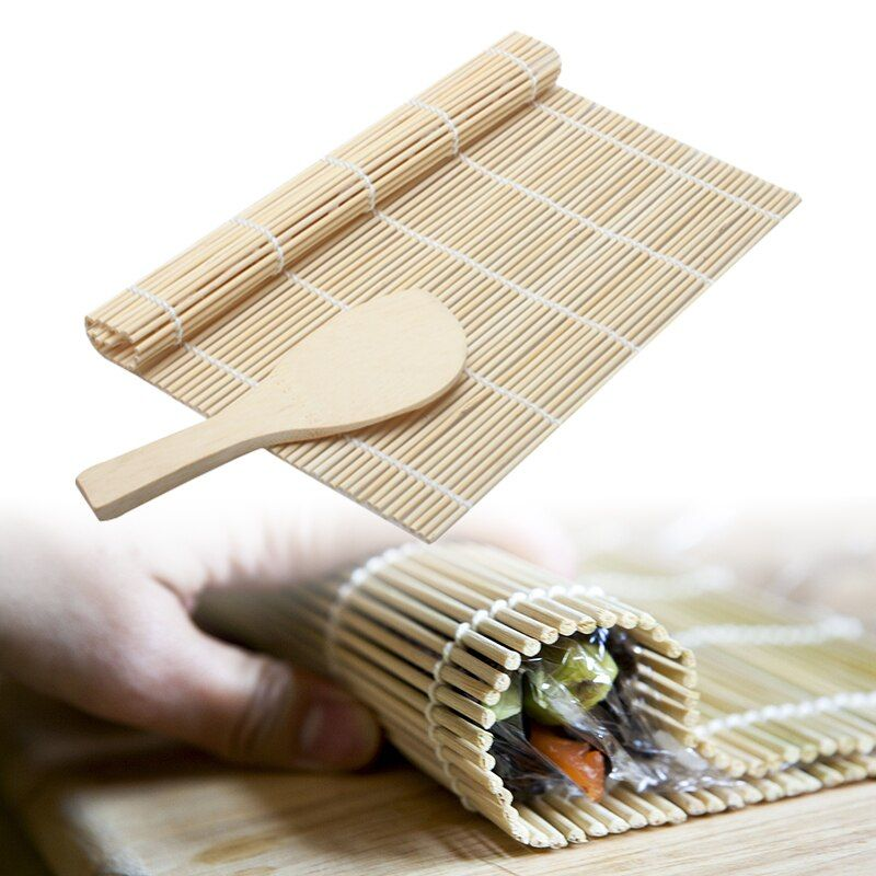 Bamboo Sushi Tools Non-stick Sushi Roller Handle Rice Paddle Sushi Maker Cooking Roll Tools Kitchen Accessories
