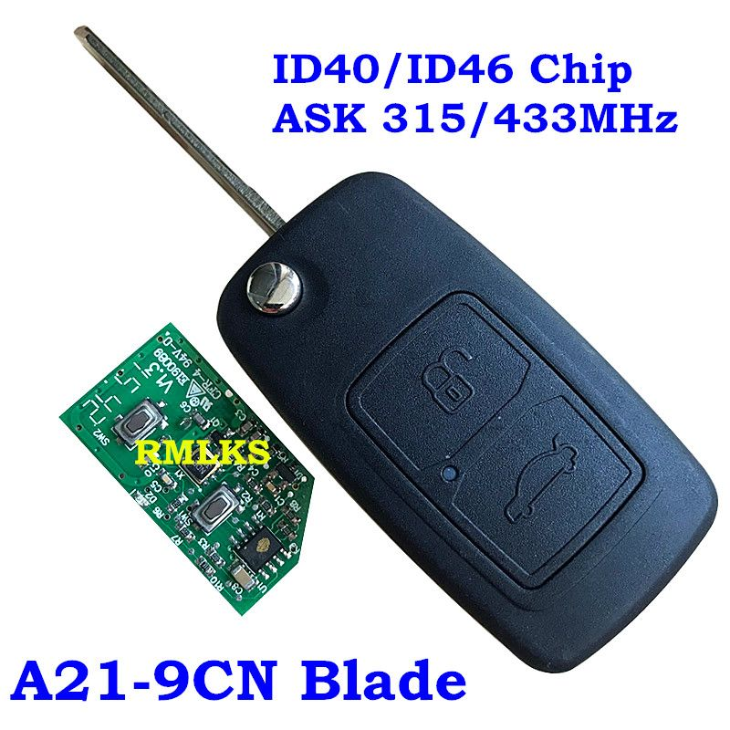 Flip Folding 2 Buttons Remote Key 315MHz 433MHz With ID40 ID46 Chip 9CN A21 Blade Fit For Chery A5 A3 Car before 2009