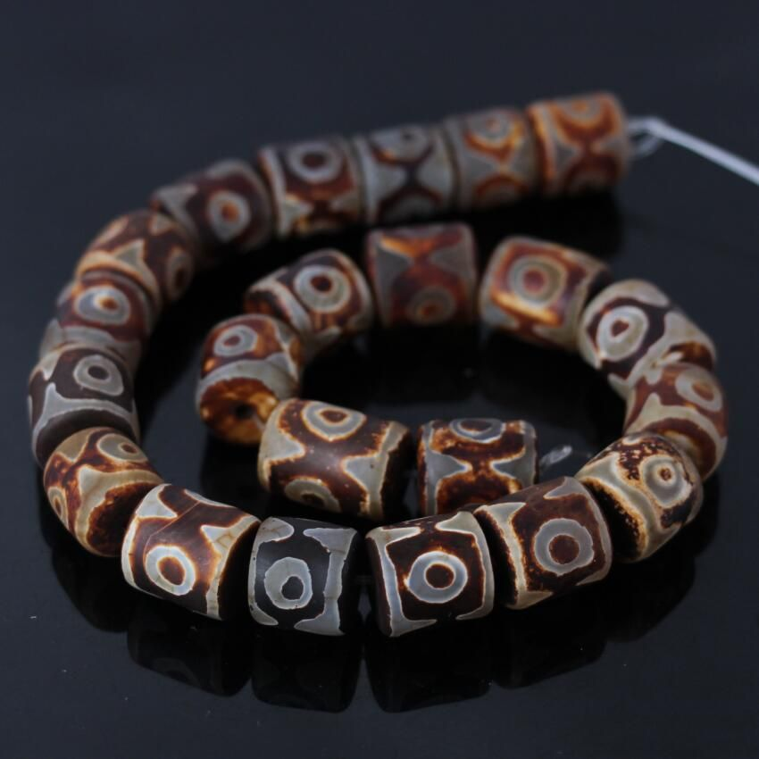 2Strands/lot of Rust Brown Three-eyes Tibetan Dzi Column/Cylinder Beads,Tibetan Agates Dzi Beads Wholesale DIY Jewelry Making