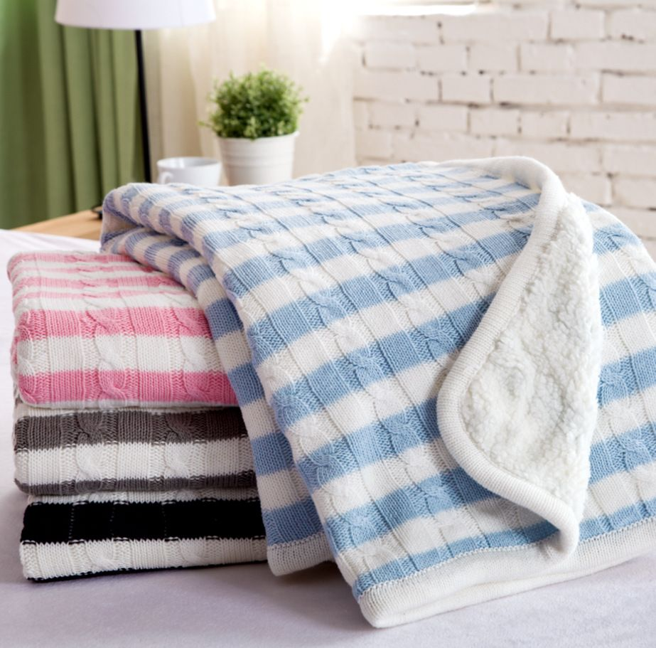2017 Striped Hot Sale Baby Blankets Newborn Swaddle High End Quality Handmade Knitted Sofa Throw Knitting Cotton Blanket