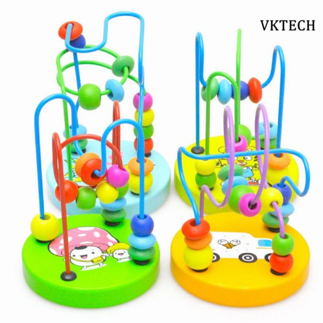 2017 Kids Baby Wooden Toys Colorful Around Beads Learning Education Baby Montessori Toys Kids Wood Toy For Children Random