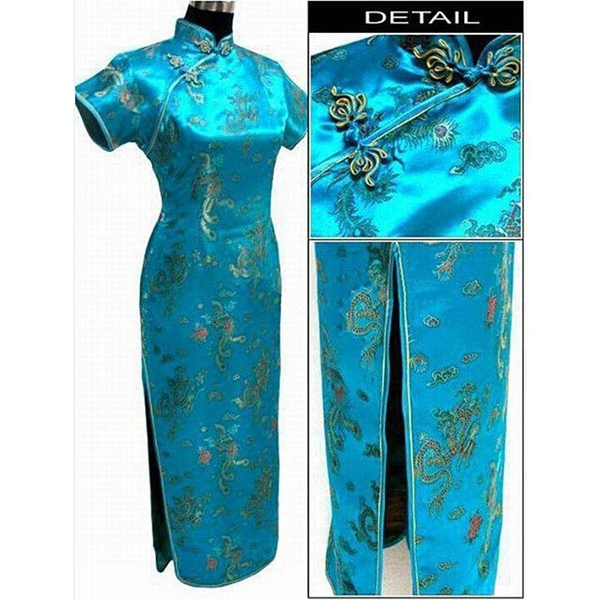 Lake blue Chinese Traditional Dress Women Satin Qipao Dragon Phenix Long Cheongsam Plus Size S M L XL XXL XXXL 4XL 5XL 6XL LF-06