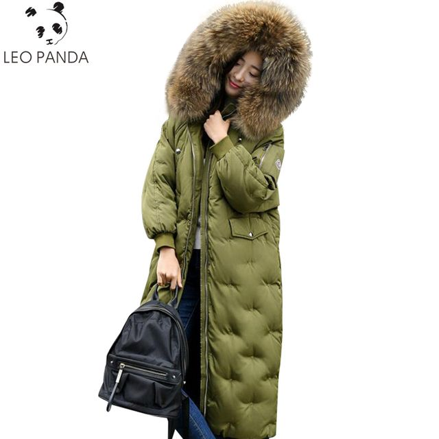 2018 Winter Women Super Big Real Raccoon Fur Collar thicke Maxi Long Jacket Female Outerwear Warm Hooded New Coat Parka Ladies