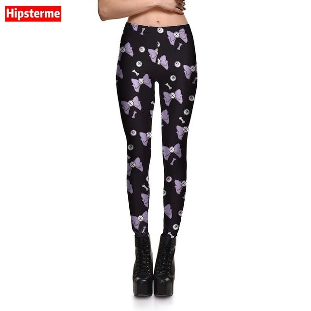 HIPSTERME New Fashion Women Sexy leggings Black Cartoon Bowknot Printed gothic leggins for Woman