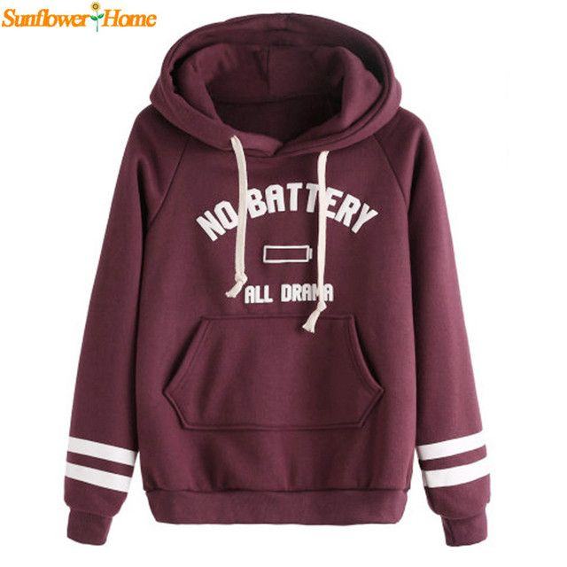 Newly Design NO BATTERY ALL DRAMA Casual Autumn Winter Hooded Sweatshirt Tops 161110 Drop Shipping