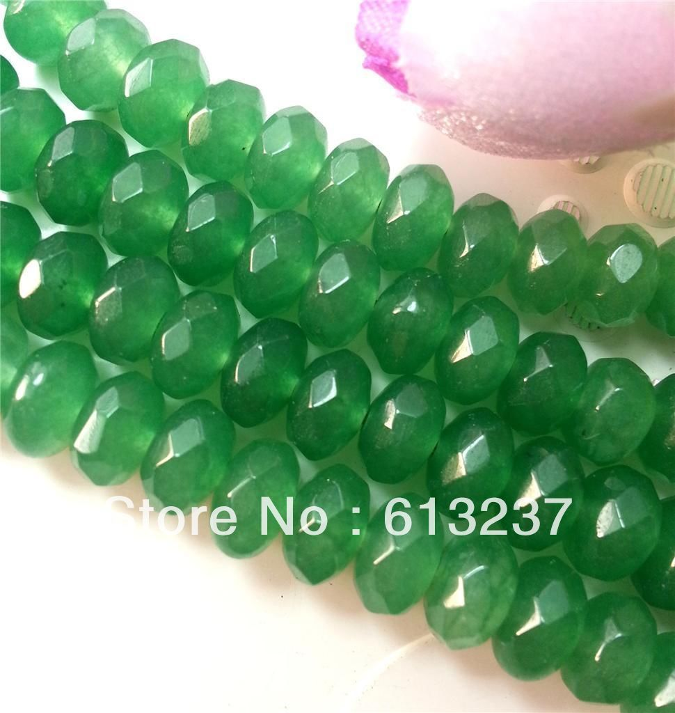 Natural Green Stone Chalcedony jades 5x8mm Faceted Abacus Rondelle Loose Beads Jewelry Findings Accessories 15inch MY4089