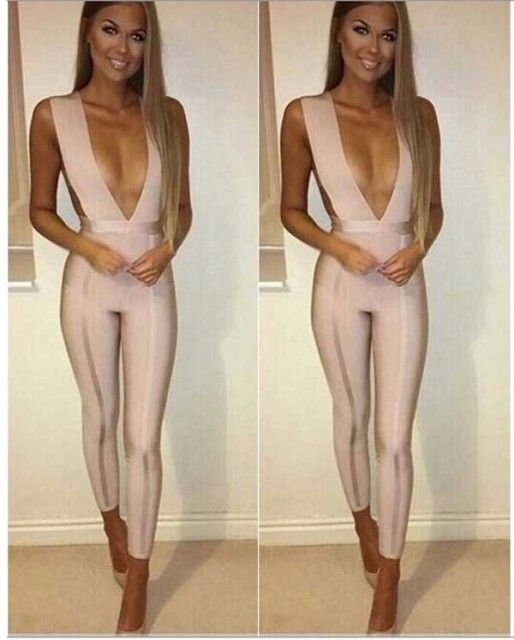 2016 new high fashion sexy women pink v - neck jumpsuits wholesale
