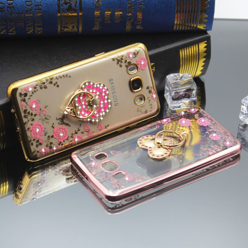 for Samsung Galaxy J2 J3 J5 J7 2015 2016 2017 J3 Pro Silicon Diamond Crystal Glitter TPU Soft Back Cover Ring Holder Phone Case
