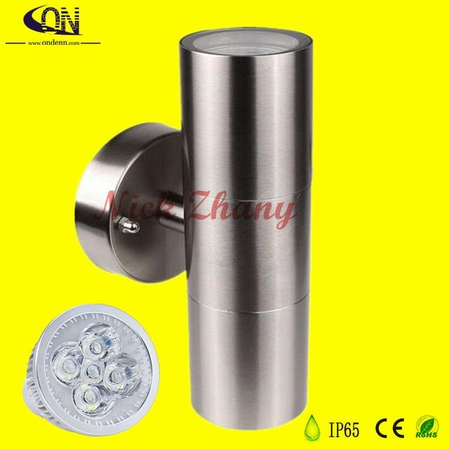 Indoor Outdoor Waterproof IP65 Double 2X5W 10W LED Wall Light Stainless Steel Up Down GU10 Double Wall Lamp AC85-265V
