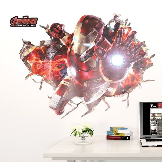 Wall Art Graphic THE AVENGERS Ironman Smashed Wall Printed Vinyl Sticker Decorative 3D Look Poster Kids Boys Bedroom Decor Decal