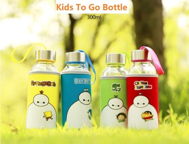 New 300ML Child Cartoon Glass School Water Bottles My Bottle Hot Cool Drink Travel Bottles Kid Drinking Protein