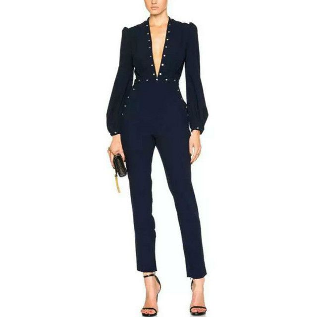 High Quality Women Sexy Blue Esplanade Rivet V Neck Jumpsuit Designer Brand Zimmermann Overalls One Piece Long Rompers  JM5