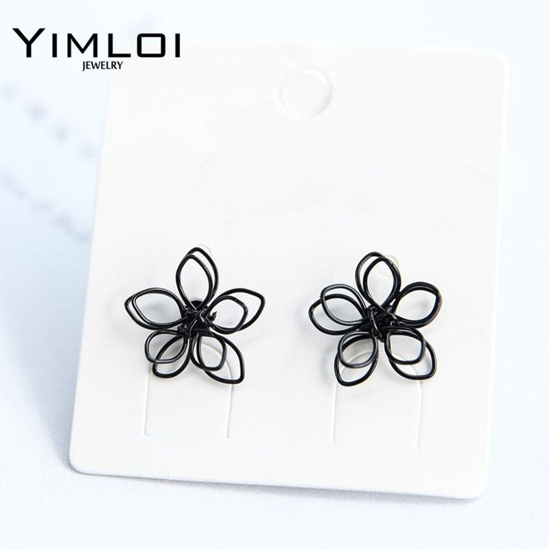 Elegant Charming Small Gold Ball Black Plum Flower Double Sides Stud Earring Prom Wedding Pressent E326