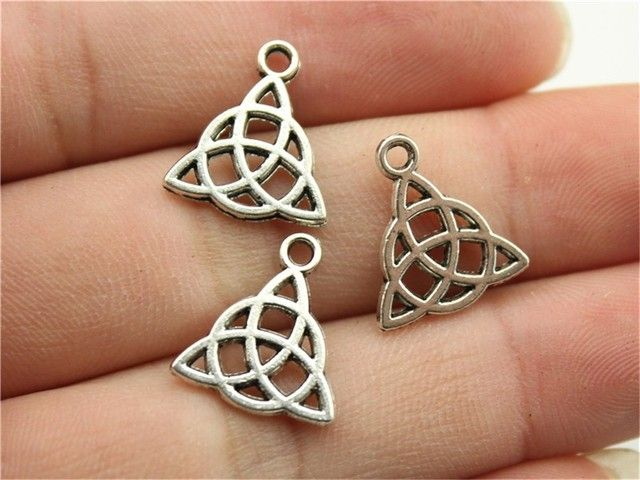 WYSIWYG 10pcs 16x14mm Charm Triquetra Sign Triquetra Amulet Charms For Jewelry Making Antique Silver Triquetra Symbol Charms