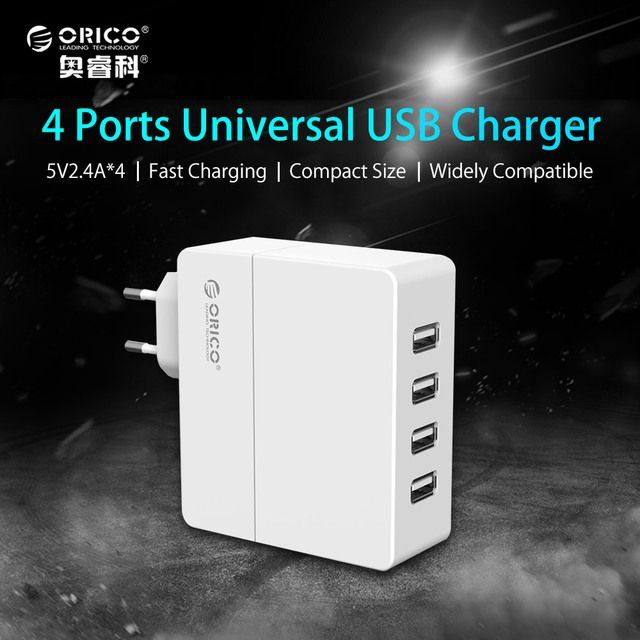 USB Charger ORICO 4 Port Phone Charger 5V2.4A*4 34W Output for iPhone 7 Plus iPad Air 2 Mini 3 GalaxyNote Nexus and More