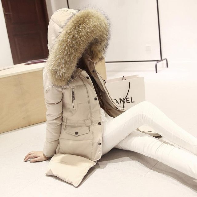 Women Winter Jacket Femme Parka Natural Fur Collar Thick Long Coat Adjustable Waist Duck Down Plus Size Slim Warm Outwear C1741