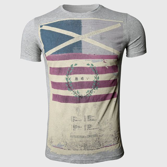 Striped T Shirts Men Designer Clothes Cross Flag Print Vintage Military O Neck Slim Fit Tops Fashion British