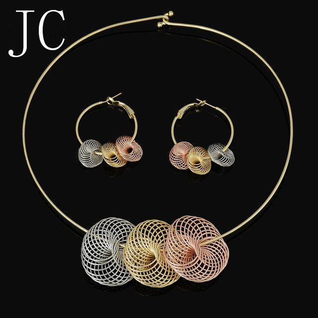 Fashion high quality  Jewelry Set Italy 750 gold  Earrings Necklace pendant  3color Wedding Party set